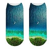 LWHRKSJC calzini alla caviglia Harajuku cotone pettinato onde del mare spray spiaggia bellissimo scenario novità divertenti calzini corti stampati in 3D