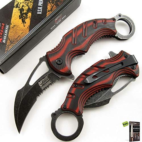 SPRING-ASSIST FOLDING POCKET KNIFE | Mtech Black Red Karambit Tactical Serrated Knife + Free eBook by SURVIVAL STEEL