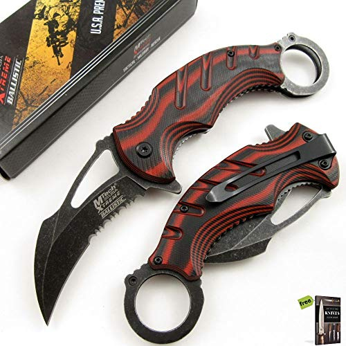 SPRING-ASSIST FOLDING POCKET KNIFE | Mtech Black Red Karambit Tactical Serrated Knife + Free eBook by SURVIVAL STEEL