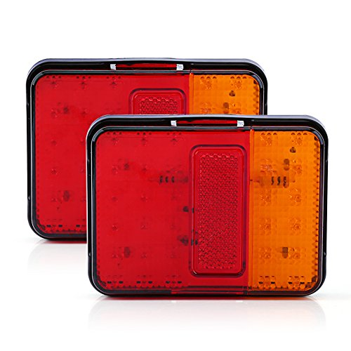 Lot de 2 feux arrière à 30 LED pour remorque, camion, bateau, étanche, 12 V, rouge et ambre