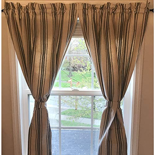 Home Collections by Raghu 72x63 Grain Sack Stripe Curtain Panels, Colonial Blue and Cream, 2 Piece