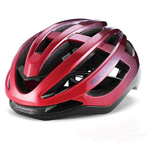 Jklt Casque Confortable Casque de vélo pneumatique Casque de vélo Casque de Moulage intégré Homme Mountain Equipment Vélo Sentiment Lumière (Couleur : Bright Red, Size : M)