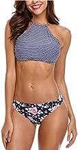 Vegatos Womens Bikini Swimsuit High Neck Stripe Crop Top Floral Bikini Bottoms S