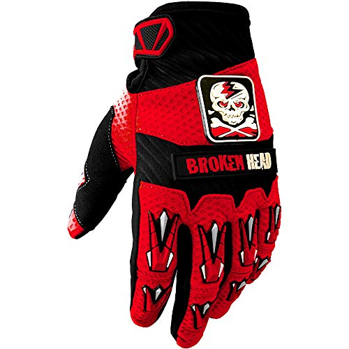 Broken Head MX-Handschuhe Faustschlag - Motorrad-Handschuhe Für Motocross, Enduro, Mountainbike - Rot - Größe L