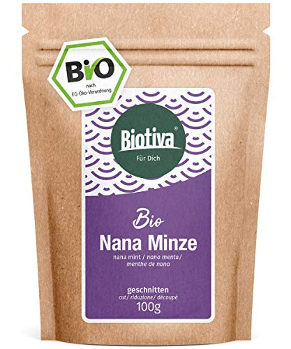 Nana Minze Bio 100g - Echte arbische Minze, geschnitten - marokkanische Minze - ohne Füllstoffe - abgefüllt und kontrolliert in Deutschland (DE-ÖKO-005)