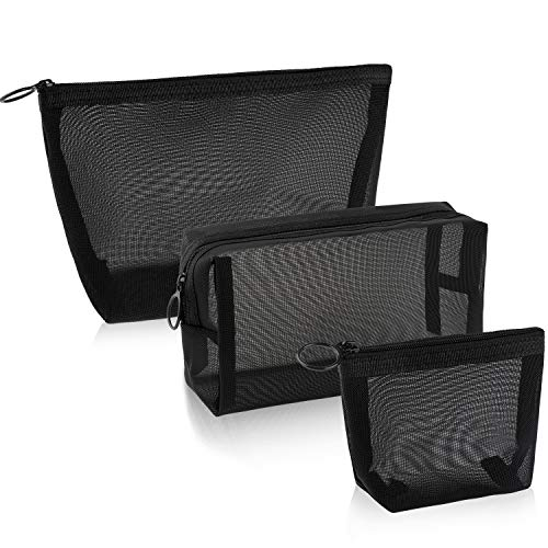 3 Pieces Mesh Cosmetic Bag Mesh Makeup Bags Black Mesh Zipper Pouch for Offices