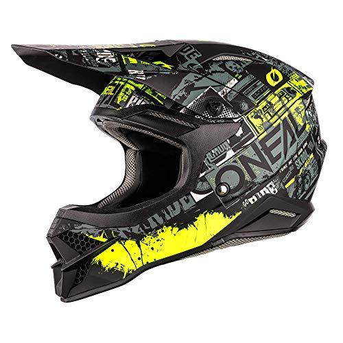 O'NEAL | Motocross-Helm | MX Enduro Motorrad | ABS-Schale, Sicherheitsnorm ECE 22.05, Lüftungsöffnungen für optimale Belüftung & Kühlung | 3SRS Helmet Ride | Erwachsene | Schwarz Neon-Gelb | Größe M