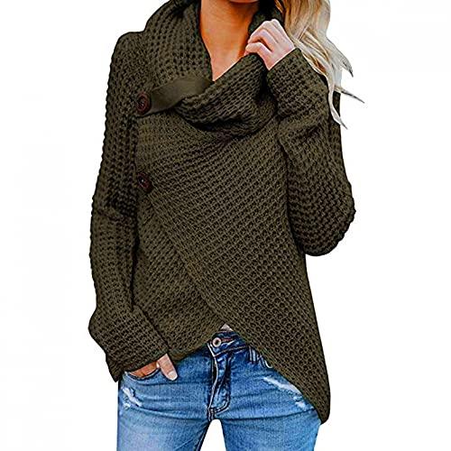 Jersey Mujer Otoño Chaqueta Punto Mujer Jersey Dobladillo Asimétrico Suéter Irregular Collar de la Pila Tops Abrigo Entretiempo Negro/Blanco/Armada/Vino/Caqui/Ejercito Verde/Azul O Oscuro S~Xxxl