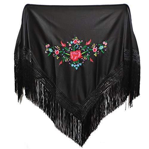 MUNDDY® - Mantón Bordado en Flores Para niña. Mantones Flamenco Sevillana.Color Rojo Negro Rosa Blanco Amarillo Azul. Envio desde madrid con seguimiento. … (Negro)
