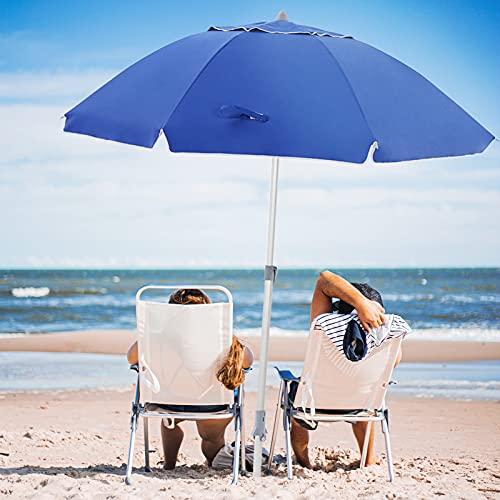 wikiwiki 7.5ft Beach Umbrella UV 50+ Sun-Protection with Anchor,Siver-Coating,Push Button Tilt & Carrying Bag for Sand Heavy Duty Wind Outdoor Garden Beach | Aluminum Pole(Blue)