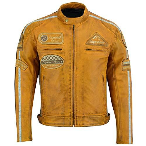 BOSmoto Echtleder Herren Jacke aus Lammleder (M) Vintage Retro Lederjacke Gelb