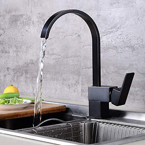 YHSGY Grifo De Cocina Negro Grúas De Agua Potable Grifo Mezclador De Agua Fría Y Caliente Grifos De Agua Pura Orb Antiguos