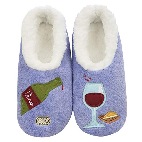 Snoozies Pairables Womens Slippers - House Slippers - Wine O' Clock - Large