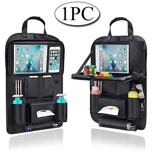 AresKo Organisateur de Voiture, Protecteur Arrière de Siège Auto, Table à Manger en voiture avec Support de Tablette iPad à Écran Tactile de 9,7 Pouces, Multi-Poches pour Rangement Voiture, 1PC