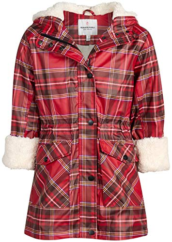 Urban Republic Girls Hooded Rain Jacket with Fur Lining, Size 7/8, Red Plaid