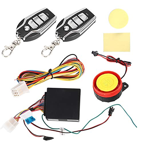 Akozon Alarma de motocicleta, 125dB Alarma de seguridad de moto impermeable antirrobo Arranque remoto del motor 12V con control remoto