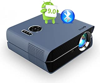WiFi Bluetooth LCD Video Projector with Android 9.0 2021 New Native 1080P Full HD Home Outdoor LCD Projector Digital Zoom ...