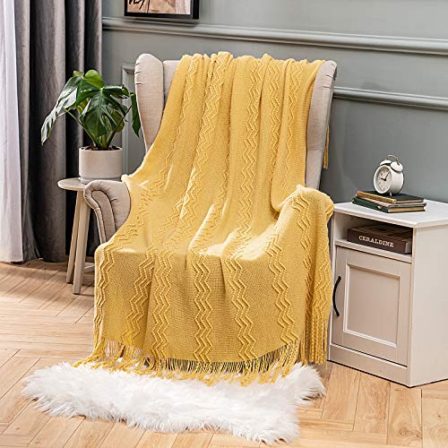 Throw Blanket for Sofa Chair Bed Couch Cover BedRoom Knitted with Fringes Tassels Scarf Solid Cozy Textured Warm Luxury Decorative MIULEE 50x60 Inch Yellow