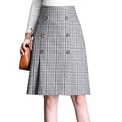 Flygo Women's Vintage High Waist A-Line Midi Plaid Pencil Skirt