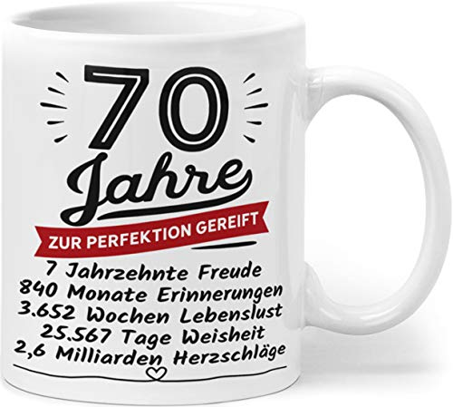 Orange9 Geschenk Geburtstag 70 Tasse - 70 Jahre Zur Perfektion Gereift - Jubiläum, Jahrestag, Geburtstagsgeschenk Männer Frauen 70