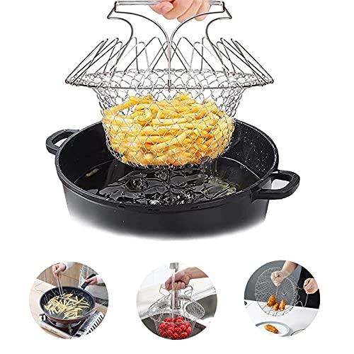 Panier de Friture,Panier à Salade Pliable en INOX, Vapeur de Rinçage Crépine Panier de Chef pour Frites Pommes de Terre Friteuse Frit Alimentaire Panier Salade