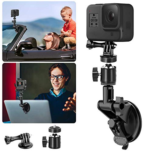 Car Suction Cup Mount w Ball Head for Gopro, Vehicle Dash Windshield Window Boat Compatible for GoPro Hero 8 7 6 5/4/3+/3/Session Gopro Max DJI OSMO Action 4K SJCAM YiEKEN Sports Action Camera