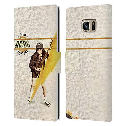 Head Case Designs Licenciado Oficialmente AC/DC ACDC Alta Tensión Portada del Álbum Carcasa de Cuero Tipo Libro Compatible con Samsung Galaxy S7 Edge