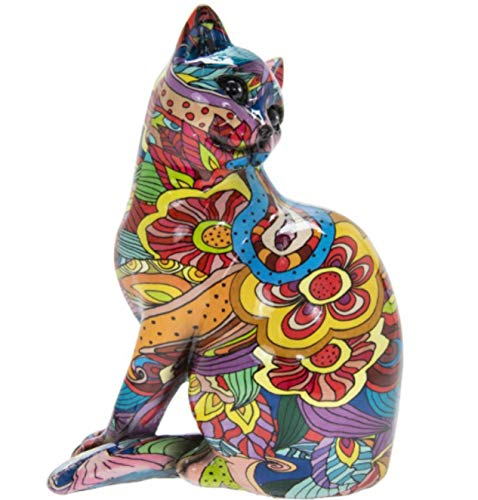 Animal Crackers Groovy Art coloured Sitting Cat ornament figurine, great Cat lover gift