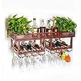 LDFZ Organizadores De Vino Montados En La Pared Organizador | Creativo Estantería De Vino | Estante De Exhibición De Almacenamiento De Vino | Vasos De Copas | Comedor, Bar, Bodega