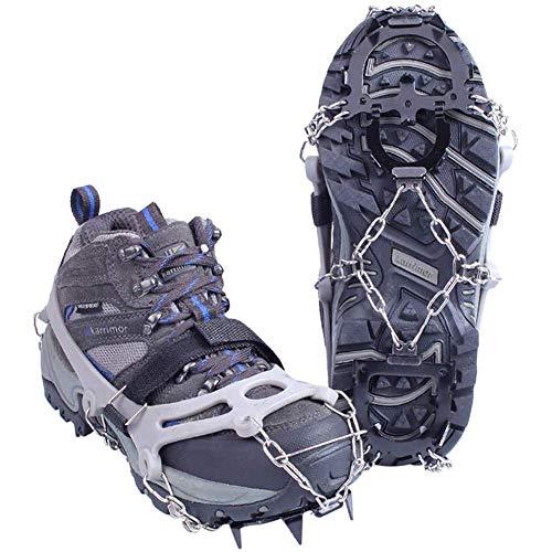 Tentock Crampones de Hielo Antideslizantes de 12 Dientes para Trekking, Crampones de Nieve de Acero Inoxidable, Tracción de Hielo para Botas(12 Dientes,L)