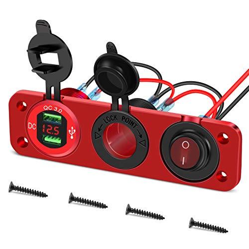 Toma USB para coche de aleación de aluminio Toma de carga doble USB de 12 V 36 W Voltímetro LED toma mechero impermeable Interruptor de palanca ON/OFF para moto marina 12 V/24 V (rojo)