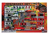 Mozlly Diecast Police and Rescue Emergency Crew Theme Assorted Vehicles Accessories with Play Mat for Boys Kids Children Pre-Kindergarten Toys Games 46 Piece Play Set Ideal Gift Vehicle Playsets