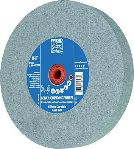 "PFERD 61796 Bench Grinding Wheel, Silicon Carbide, 8"" Diameter, 1"" Thick, 1-1/4"" Arbor Hole, 120 Grit, 3600 Maximum RPM"