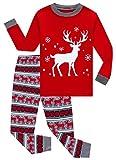 KikizYe Big Girls Boys Long Sleeve Christmas Pajamas Sets 100% Cotton Red Holiday Pyjamas Kids Pjs Size 10 Reindeer