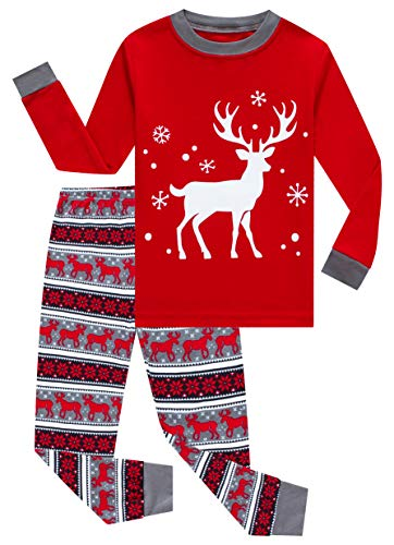 KikizYe Little Girls Boys Long Sleeve Christmas Pajamas Sets 100% Cotton Red Holiday Pyjamas Toddler Kids Pjs Size 5 Reindeer