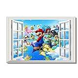 Super Mario Bros Tapete Benutzerdefinierte Leinwand Wanddekor Mario Party Insel Tour Poster 3D Fenster Aufkleber Kinder Schlafzimmer Aufkleber 60x90 cm