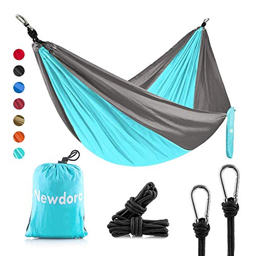 Newdora Camping Hammock, Garden Hammock Lightweight Nylon Portable, Best Parachute Double Hammock for Backpacking, Camping, Travel, Beach, Yard. 105'(L) x 56'(W), with Hammock Ropes
