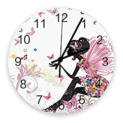 Wall Clock Battery Operated Non-Ticking 12 Round Wood Clocks, Butterflies, Girl with Floral Dress Fairy Angel Wings Kitchen Wall Clock for School Bathroom Living Room Home Office Wall Decor