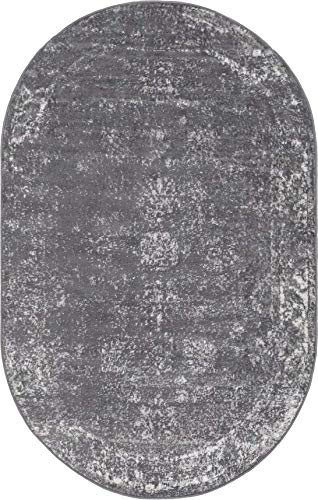 Unique Loom Sofia Collection Traditional Vintage Dark Gray/Ivory Oval Rug (3' 3 x 5' 3)
