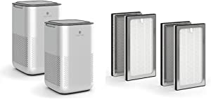 Medify MA-15 Air Purifier with two additional H13 True HEPA replacement Filters |330 sq ft Coverage | for Smoke, Smokers, Dust, Odors, Pet Dander | Quiet 99.9% Removal to 0.1 Microns | Silver, 2-Pack