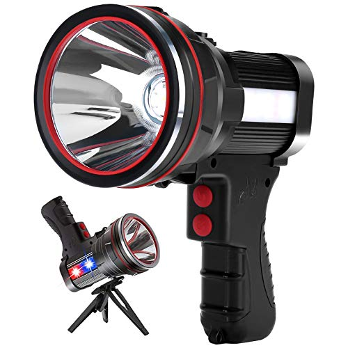 Rechargeable Spotlight,Super Bright 6000 Lumens Handheld Spotlight IPX4 Waterproof Emergency Lamp Camping Flashlight,with Foldable Tripod,with USB Output Power Bank