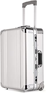 Travel Suitcase, High Quality Men's Business Briefcase Travel Hard Caseboarding Trolley Trunk,Silver,20inch