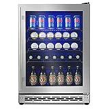 Advanics 24 Inch Beverage Cooler & Refrigerator with Glass Door, Auto Defrost 5.8 cu.ft. Beer & Soda...