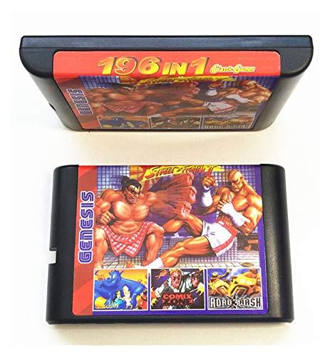 Flowing CHENZHEN 196 en 1 colección de Juegos en 1 Ajuste para Sega Genesis MEGADRIVE Cartucho de 16 bits PAL y NTSC Drop Envio CZ (Color : MD196)