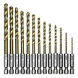Snner Professional Set de 13 piezas HSS- Acero de alta velocidad, juego de brocas recubiertas de titanio, vástago hexagonal
