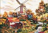 Nobranded DIY Pintura Al Óleo para Adultos Niños Casa De Techo Rojo Abstracto Y Molino De Viento Pintura por Número Kit Digital De Pintura Al Óleo 40X50Cm