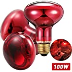 3 Pieces Reptile Infrared Bulb Red Spot Lamp Light Heating Infrared Bulbs Pet Heating Lamp for Reptile, Amphibian and Other Animal Heating Use (100)