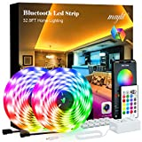 maylit Led Strip Lights 32.8ft Bluetooth APP Controller 5050LEDs Music Sync Color Changing Kit with Remote and 12V Power Supply for Bedroom, Room, Home Decoration, RGB (Red, Green, Blue)