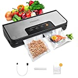 YISSVIC Vacuum Sealer Machine Automatic Food Sealer with Built-in Cutter and Roll Bag Storage for Dry and Moist Food Fresh Preservation