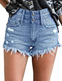 luvamia Women's High Waist Denim Shorts Frayed Raw Hem Jean Shorts, Color L Shorts Light Blue, Size M